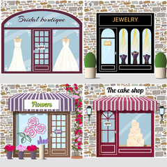 Bridal boutique, jewelry, flowers  and the cake shop.