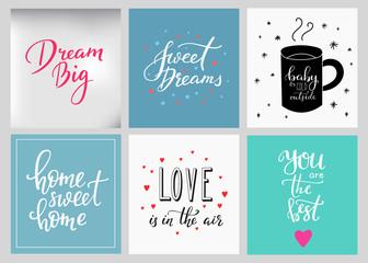 Lettering postcard quotes set