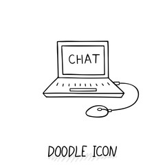Doodle Laptop Icon illustration. Netbook, ultrabook.