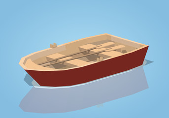 Red punt boat against the blue background. 3D lowpoly isometric vector illustration