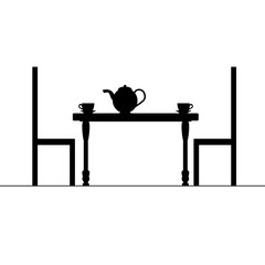 cup of tea on table illustration
