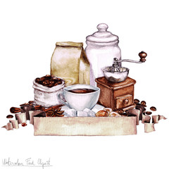 Watercolor Food Clipart - Coffee Collection