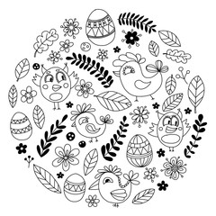 Doodle set with flowers, birds and eggs