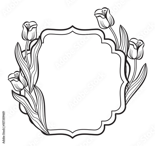 Elegant frame with outline tulips. Vector clip art.\