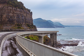 View of the magestic Sea Cliff Bridge, Grand Pacific Drive, Sydney, Australia.