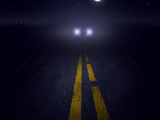 Car lights on the road