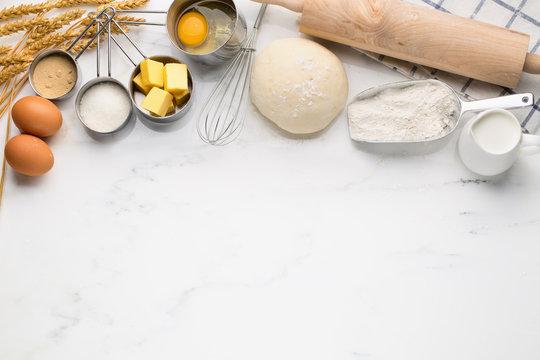 Baking cake with dough recipe ingredients
