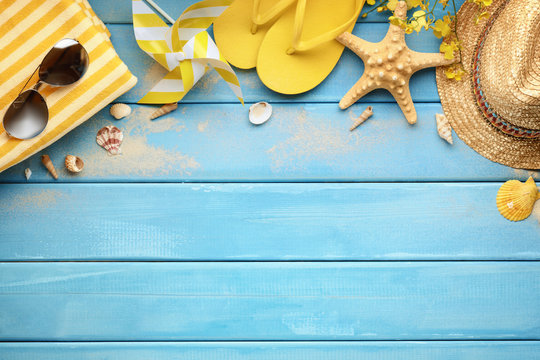 Beach accessories on wood