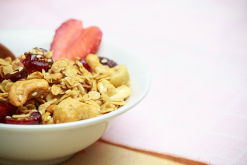 Homemade granola breakfast health food