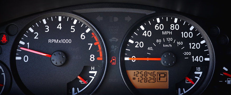 Car Dashboard with Odometer