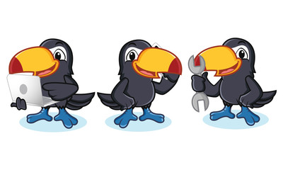 Toucan Mascot with laptop