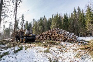 Image of truck loading logs in winter forest