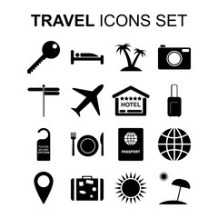 Travel icons set and tourism symbols. Vector illustration