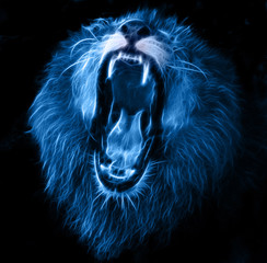 White lion with blue background logo - photo#24