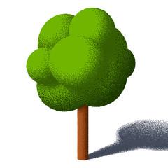 Retro textured icon tree with dotwork