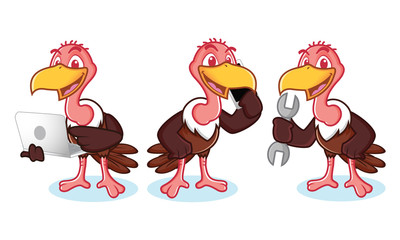 Vulture Mascot Vector with phone