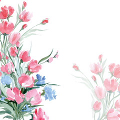 Greeting card with a watercolor wild flowers with place for your text. (Use for Boarding Pass, invitations, thank you card.) Vector illustration.
