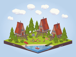 Fotobehang Blauw Cabins in the woods near the lake. 3D lowpoly isometric vector concept illustration