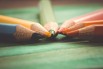 Color pencils with filter effect retro vintage style