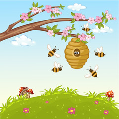 Illustration of bee flying around a beehive