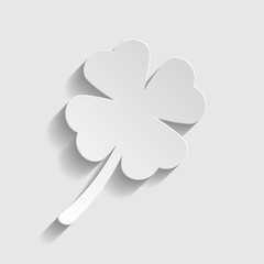 Leaf clover sign. Paper style icon