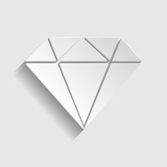 Diamond sign. Paper style icon