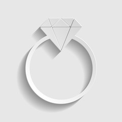 Diamond sign. Paper style icon