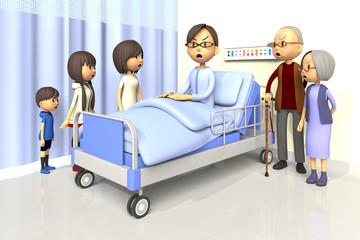 入院している男性とお見舞いする家族