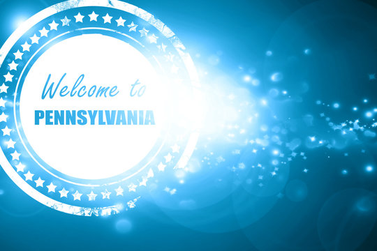 Blue stamp on a glittering background: Welcome to pennsylvania