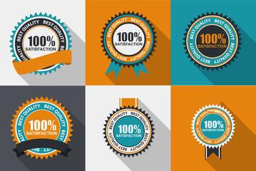 100% Satisfaction Quality Label Set in Flat Modern Design