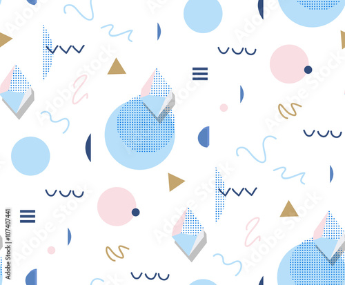 Retro Memphis 80s or 90s style fashion abstract background