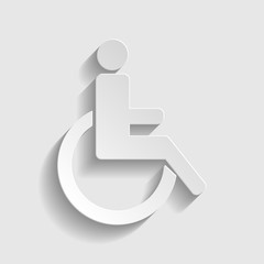Disabled sign. Paper effect