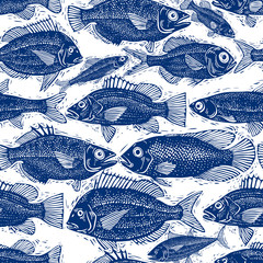 Freshwater fish endless vector pattern, nature and marine theme