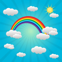 Rainbow background with clouds