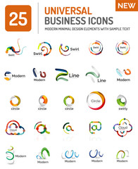 Logo collection, abstract geometric business icon set