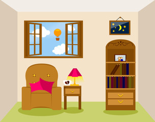 vector illustration of living room interier
