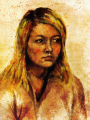 art colorful painting beautiful girl face and sepia background.