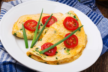 Delicious omelette with vegetables