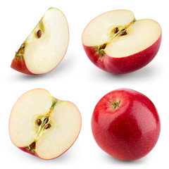 Fototapete - Red apple isolated on white. Collection. With clipping path