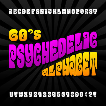 Psychedelic alphabet vector font. Hand drawn letters and numbers in 60's hippy style. Stock vector typeset for your design.
