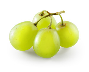 Fototapete - Green grape. Four berries isolated on white. With clipping path.