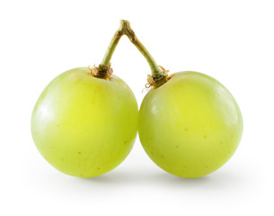 Fototapete - Green grape. Two berries isolated on white. With clipping path.