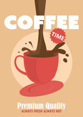 coffee cafe poster. vector illustration.