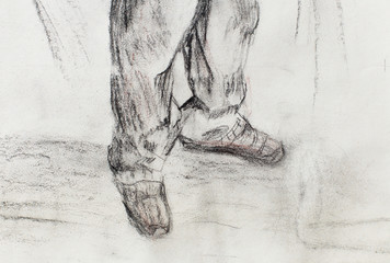 art drawing man legs and white paper background.