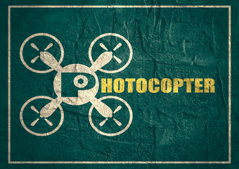 Drone quadrocopter icon. Photocopter text