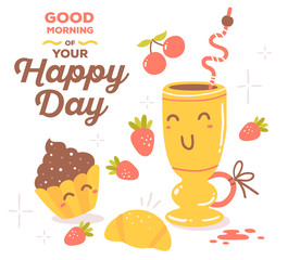 Vector illustration of colorful red and yellow breakfast theme s