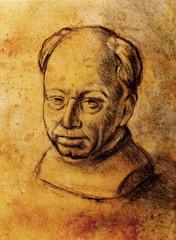 Hand drawn man head, Gypsum bust drawn.