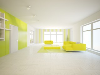 white interior design of living room