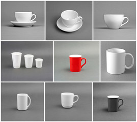 Set of different cups on gray background.