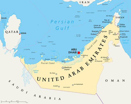 UAE United Arab Emirates political map with capital Abu Dhabi, national borders, important cities and bodies of water. English labeling and scaling. Illustration.